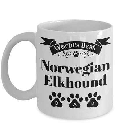 Image of World's Best Norwegian Elkhound Dog Dad Mug Fun Novelty Birthday Gift Work Coffee Cup