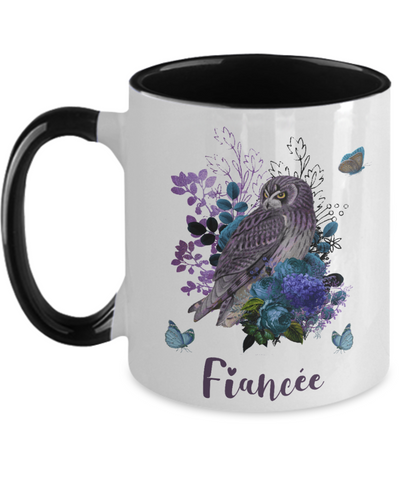 Fiancée Owl Mug Gift Floral Butterfly Two-Toned Coffee Cup