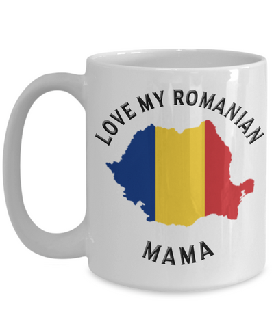 Love My Romanian Mama Mug Novelty Birthday Gift for Partner Ceramic Coffee Cup