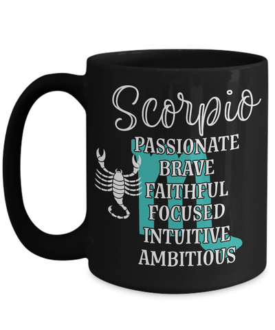 Scorpio Zodiac Black Mug Gift Fun Novelty Birthday Coffee Cup