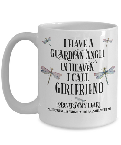 Image of Girlfriend Dragonfly Memorial Mug Gift Guardian Angel In Loving Memory Keepsake Cup
