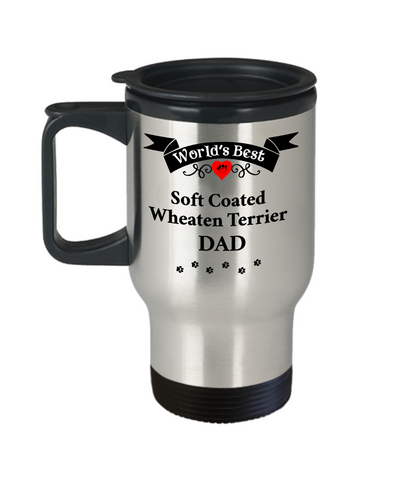 Image of World's Best Soft Coated Wheaten Terrier Dad Unique Dog Travel Mug Gifts Wheaton Dogs