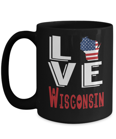 Love Wisconsin State Black Mug Gift Novelty American Keepsake Coffee Cup