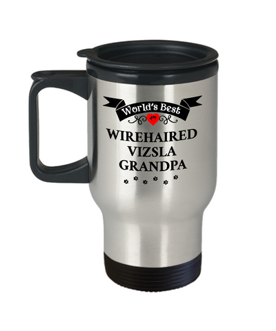 Image of World's Best Wirehaired Vizsla Grandpa Travel Coffee Mug With Lid Gift for Men