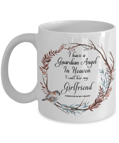 Image of In Remembrance Gift Mug I Have a Guardian Angel in Heaven I Call Her My Girlfriend Forever in My Heart for In Memory  Ceramic Coffee Cup