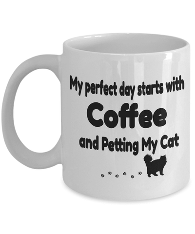"Image of Cat Lover Gift, ""My Perfect Day Starts With Coffee and Petting My Cat"" Fun Novelty mug"