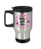 Breast Cancer Awareness Travel Mug No One Fights Alone Pink Flower Floral Ribbon Coffee Cup