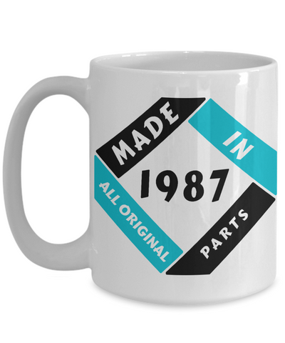 Image of Made in 1987 Birthday Mug Gift Fun All Original Parts Unique Novelty Celebration