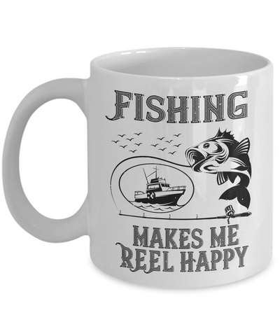 Fishing Makes Me Reel Happy Fisher Mug Gift Funny Novelty Coffee Cup