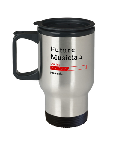 Image of Funny Future Musician Loading Please Wait Travel Mug Tea Cup Gift for Men and Women