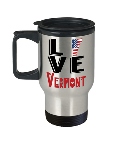 Image of Love Vermont State Travel Mug Gift Novelty American Keepsake Coffee Cup