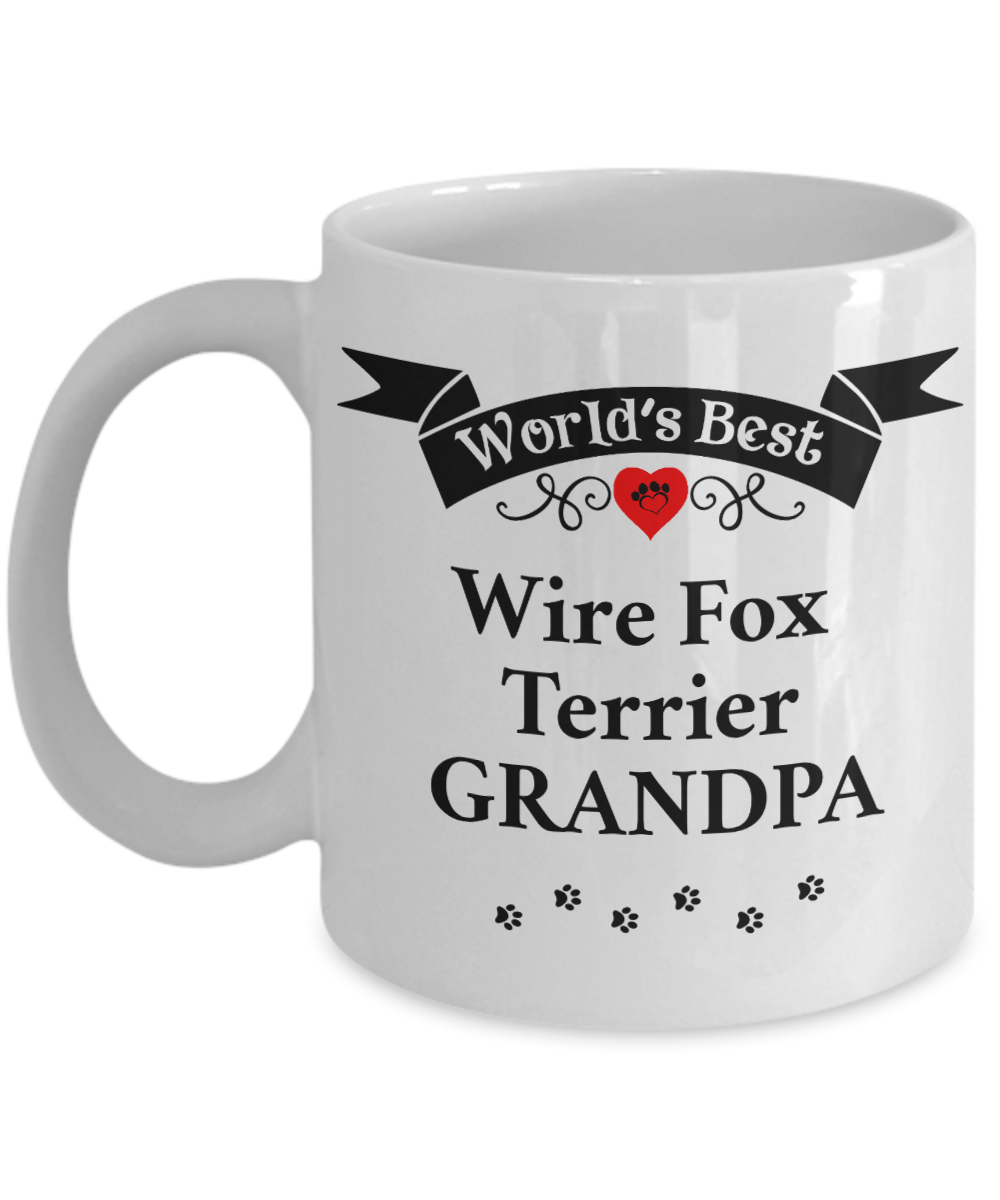 World's Best Wire Fox Terrier Grandpa Cup Unique Ceramic Dog Coffee Mug Gifts for Men