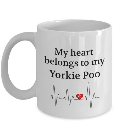 Image of My Heart Belongs to My Yorkie Poo Mug Dog Lover Novelty Birthday Unique Gifts