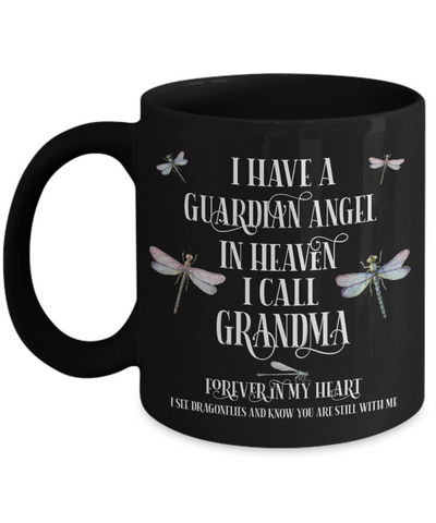 Image of Grandma Dragonfly Memorial Black Mug Gift Guardian Angel In Loving Memory Keepsake Coffee Cup