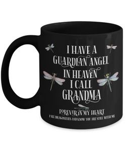 Grandma Dragonfly Memorial Black Mug Gift Guardian Angel In Loving Memory Keepsake Coffee Cup