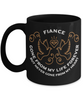 Fiance Memorial Gift Black Mug Gone From My Life Always in My Heart Remembrance Memory Cup