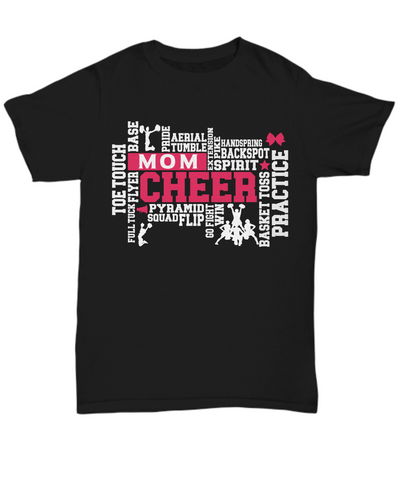 Cheer Mom Word Art Black T-Shirt Gift for Women Cheerleader Practice Flip Aerial Squad Novelty Birthday Shirt