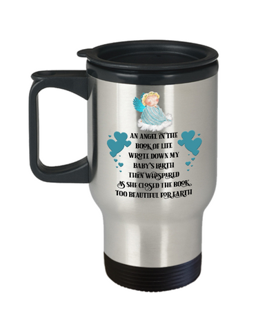 Image of Angel in Book of Life Travel Mug Boy Child Memorial Loving Memory Cup