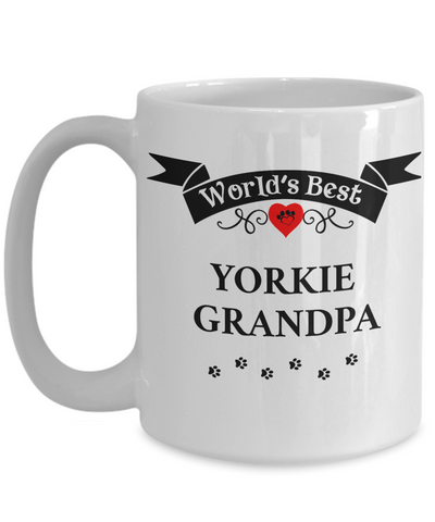 Image of World's Best Yorkie Grandpa Cup Unique Yorkshire Terrier  Dog Coffee Mug Gifts for Men
