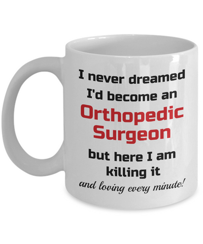 Image of Occupation Mug I Never Dreamed I'd Become an Orthopedic Surgeon but here I am killing it and loving every minute! Unique Novelty Birthday Christmas Gifts Humor Quote Ceramic Coffee Tea Cup