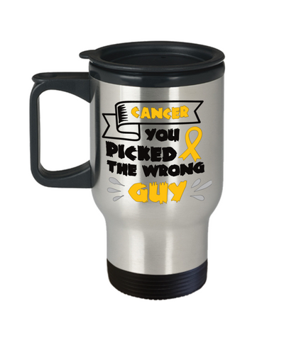 Image of Cancer Survivor Gift Travel Mug With Lid  You Picked The Wrong Guy Coffee Tea Cup For Men