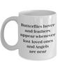 Remembrance Mug Butterflies hover and feathers appear Memorial Coffee Mug