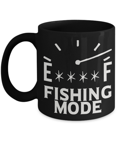 Fishing Mode On Full Meter Gauge Funny Black Mug for Fisherman  Work Office Ceramic Cup