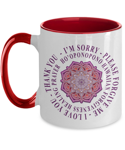 Ho'oponopono Pink Mandala Mug, Hawaiian Prayer for Healing, Mandala healing Mug, Hawaiian prayer Mug