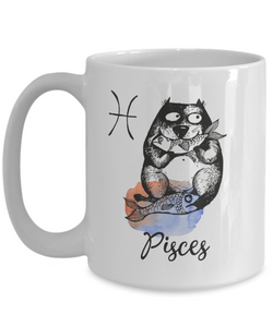 "Funny Zodiac Cat Mug "" Pisces"" Cat Mug for Pisces People - February 19 - March 20 Birthday Mugs"