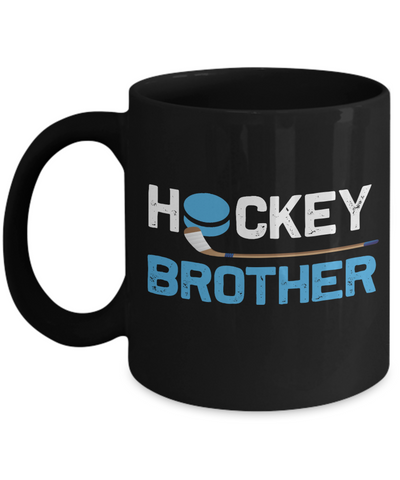 Hockey Brother Black Mug Gift Sibling Novelty Birthday Ceramic Coffee Cup