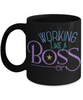 Working Like A Boss Black Mug Gift Employer Self-Employed Work Coffee Cup