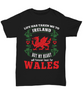 Life Took Me To Ireland My Heart Forever Beats For Wales Black Shirt Gift Welsh Patriotism Novelty T-Shirt