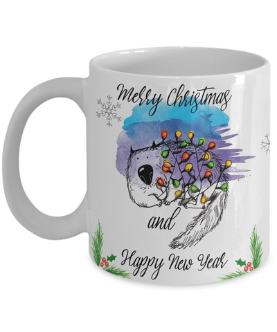 "Image of Funny Cat Mug Gift for Cat Lovers, ""Merry Christmas and Happy new year"" Fun Coffee Mug Christmas Cats"