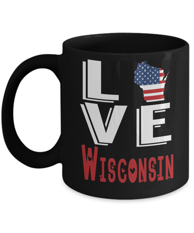 Image of Love Wisconsin State Black Mug Gift Novelty American Keepsake Coffee Cup