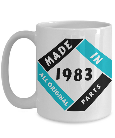 Image of Made in 1983 Birthday Mug Gift Fun All Original Parts Unique Novelty Celebration