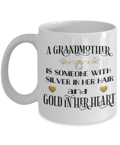 Image of Grandmother Mug Gift Gold in Her Heart Novelty Grandma Coffee Cup