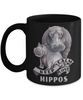 Keep Calm and Love Hippos Black Mug Gift Hippo Mom and Baby Lover Novelty Birthday Cup