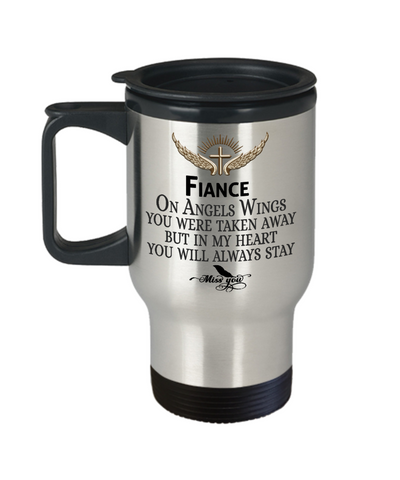 Fiance Angel Wings In Loving Memory Travel Mug Gift Memorial Coffee Cup
