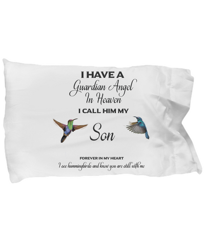 Guardian Angel Son Hummingbird Pillowcase Gift Memorial Sympathy and Support