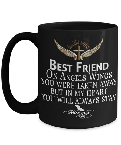 Best Friend Angel Wings In Loving Memory Black Mug Gift Memorial Coffee Cup