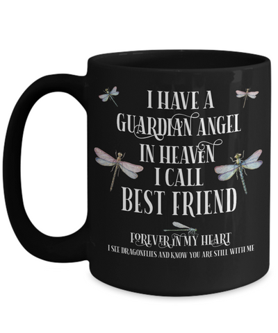 Best Friend Dragonfly Memorial Black Mug Gift Guardian Angel In Loving Memory Keepsake Cup