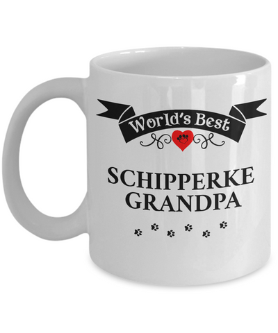 Image of World's Best Schipperke Grandpa Cup Unique Ceramic Dog Coffee Mug Gifts for Men