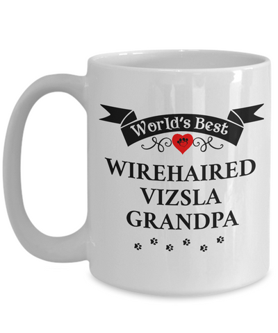 Image of World's Best Wirehaired Vizsla Grandpa Cup Unique Dog Coffee Mug Gifts for Men
