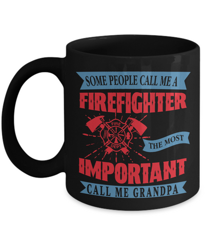 Firefighter Grandpa Hero Occupational Black Mug Gift Fire Fighter Brave Courageous Strong Novelty Birthday Ceramic Coffee Cup