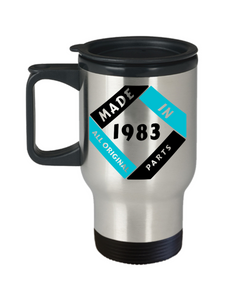 Made in 1983 Birthday Travel Mug Gift Fun All Original Parts Unique Novelty Celebration