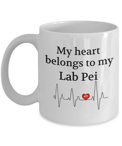My Heart Belongs to My Lab Pei Mug Dog Lover Novelty Birthday Gifts Unique Work Ceramic Coffee Gifts for Men Women