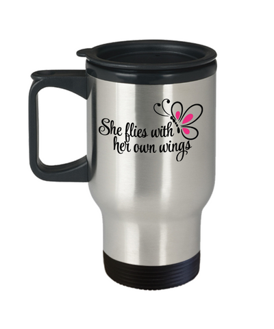 She Flies With her Own Wings Travel Mug Gift Inspirational Daughter Birthday Graduation Cup