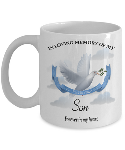 Son Memorial Remembrance Mug Forever in My Heart In Loving Memory Bereavement Gift for Support and Strength Coffee Cup