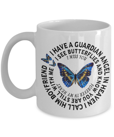 Boyfriend In Loving Memory Gift Butterfly Mug I Have a Guardian Angel in Heaven In Remembrance Memorial Ceramic Coffee Cup
