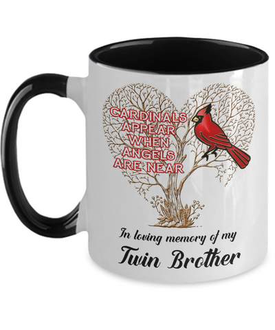 Twin Brother Cardinal Memorial Coffee Mug Angels Appear Keepsake Two-Tone Cup